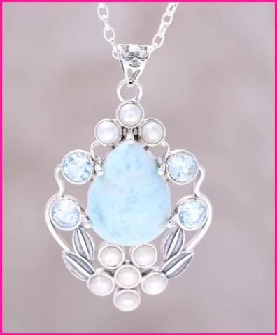 Blue Topaz and Cultured Pearl Necklace Sterling silver
