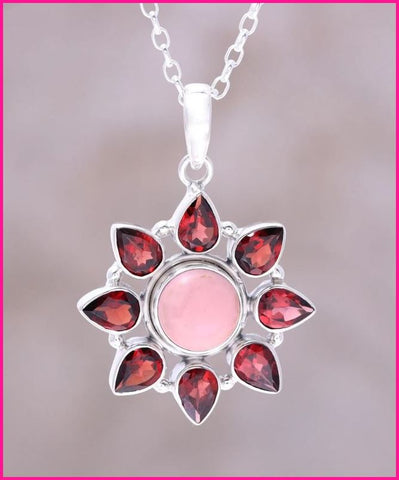 Pink Opal and Garnet Sterling Silver Glowing Flower Necklace