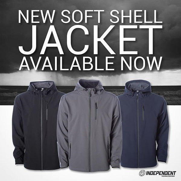 independent trading wholesale soft shell jackets in colors navy, grey, and black.  water proof, and wind resistant to keep the elements out