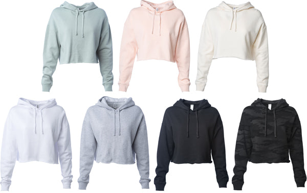 Women's Lightweight Crop Hooded Pullover available in 7 colors.