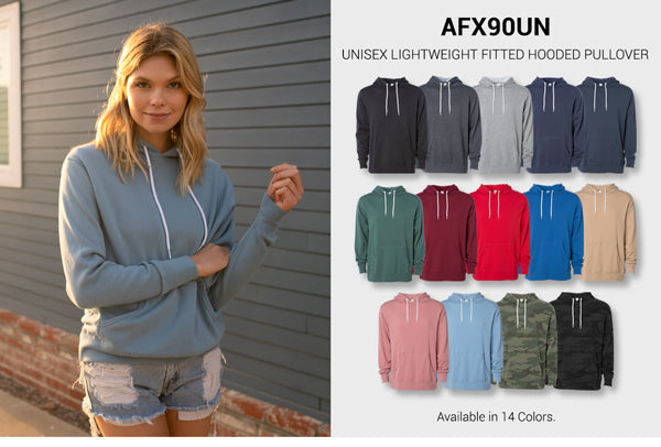 AFX90UN - Unisex Lightweight Fitted Hooded Pullover