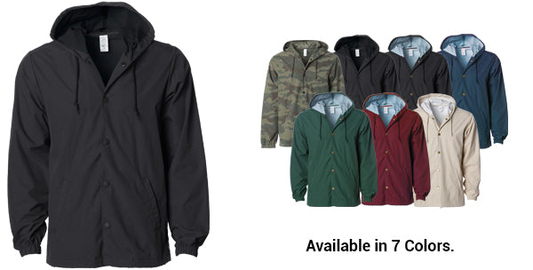 Water-Resistant Hooded Windbreaker Coaches Jacket