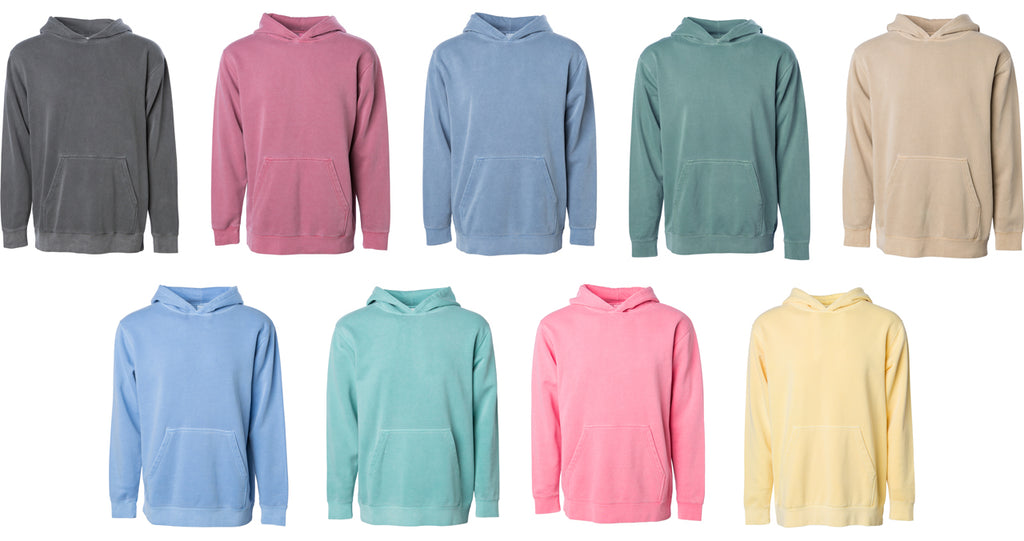 PRM1500Y Youth Pigment Dyed Hooded Pullover Available Colors.