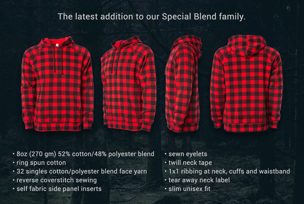 Red Buffalo Plaid is the latest color in our Unisex Midweight Special Blend Hooded Pullover style.