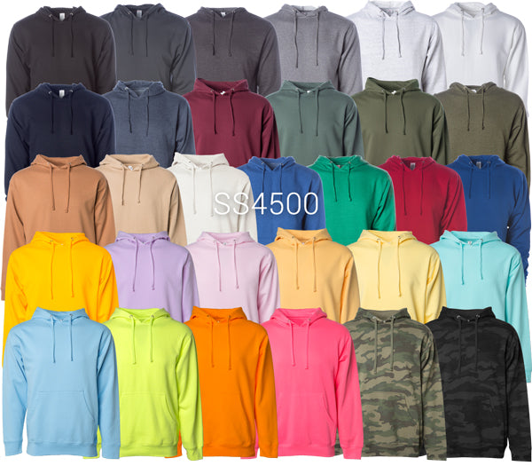 SS4500 - Men's Midweight Hooded Pullover available in 31 colors.