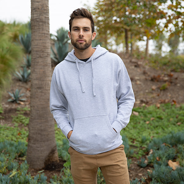 SS4500 Men's Midweight Hooded Pullover in Grey Heather.