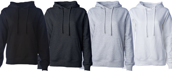 SS008 Women's Midweight Hooded Pullover Sweatshirt Available in 4 Colors.