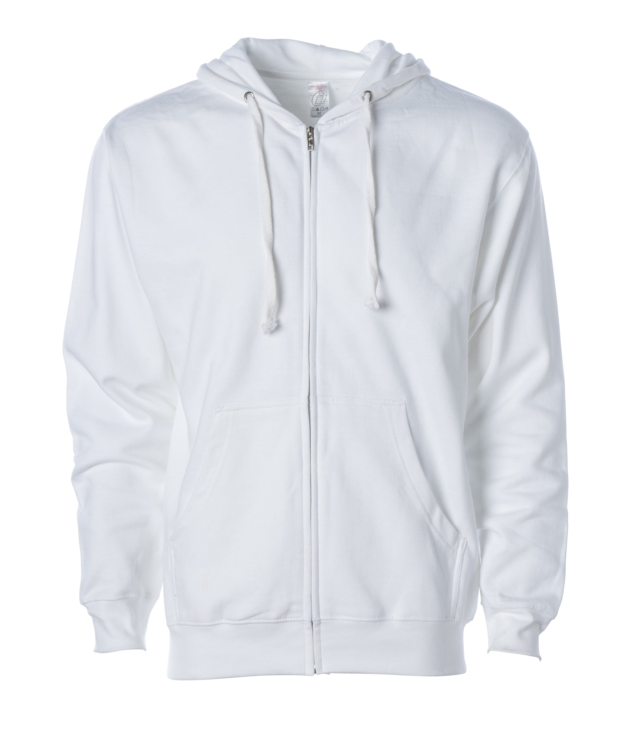 Independent Trading Co 2XL White Mens Midweight Full-Zip Hooded Sweatshirt