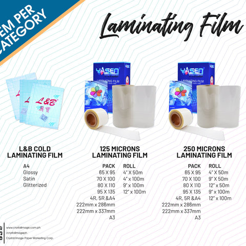 Laminating Film - Crystal Image Paper Marketing Corp
