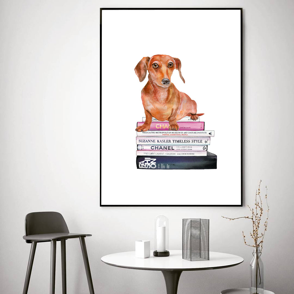 Fashion Art Book Vogue Canvas Bulldog Puppy Wall Print