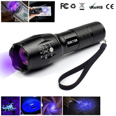 New Ultraviolet Invisible Led Flashlight 365nm  Zoomable Torch for Pet Stains Hunting Marker Checker