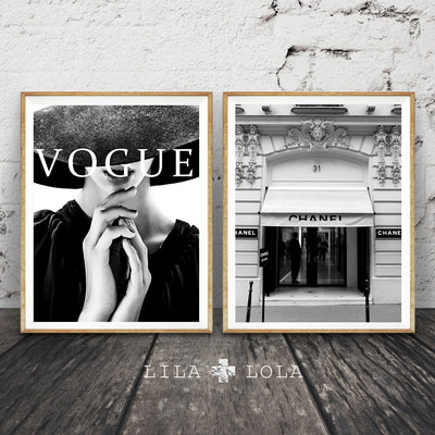 Modern Vogue Woman Canvas Painting Building Pop Art Poster Wall Pictures