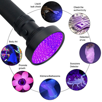 UV Flashlight LEDs 395nm Torch Back Detector Light for Dog Cat Urine
