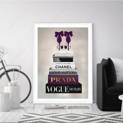 Book Stack Fashion Book Posters and Prints Vogue Canvas Painting Wall Pop Art