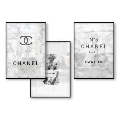 Chanel Decor Marble effect Perfume Bottle Nordic Art Decor Posters and Prints Wall Picture for Living Room Wall Art Canvas Print unframed