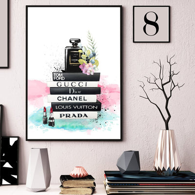 Fashion Art Book Perfume Bottle Puppy Wall Picture Scandinavian Unframed