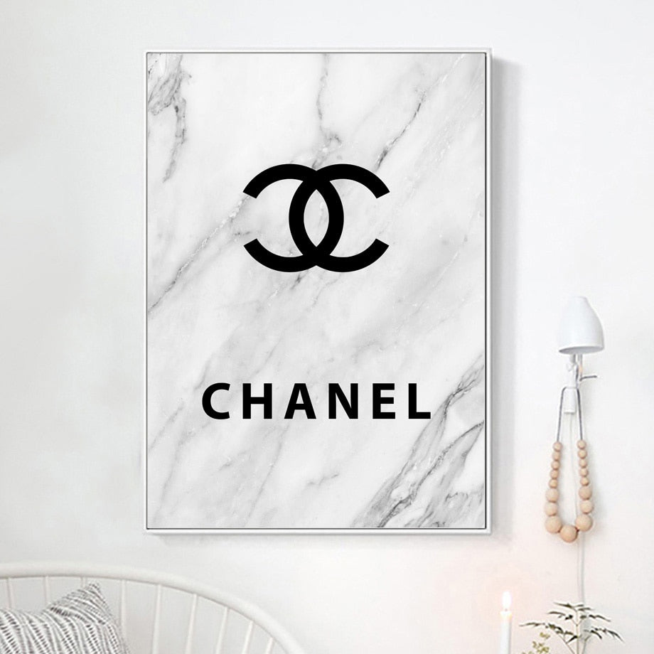 Canvas Art Print Marble Coco Chanel Perfume Fashion Black White