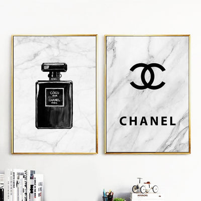 Black White Marble COCO Perfume Wall Art Canvas Painting Unframed Nordic Minimalism Posters And Prints Wall Pictures Living Room Decor