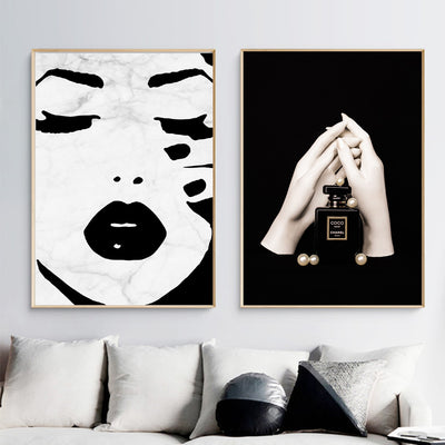 Black White Girl Perfume Nordic Canvas Poster Print