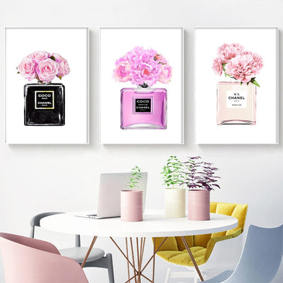 Modern Fashion Wall Art Canvas Painting , Coco Perfume Girls Bedroom Prints And Poster Wall Pictures For Living Room Home Decor