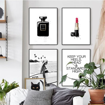 Modern COCO INSPIRATIONAL Word  Art Fashion Canvas Painting Perfume Lipstick Prints Wall Art Pictures for Living Room Home Decor Makeup Room Fashion Poster