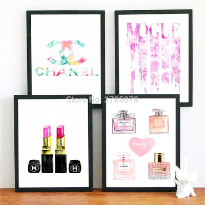 Watercolor COCO VOGUE Best Seller 2018 Wall Pictures For Living Room Fashion Perfume Lipstick Posters and Prints Wall Art Vogue Canvas Painting Poster Decor