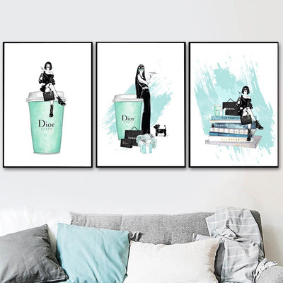 Modern Dior Home Decor Mint Perfume Bottle Canvas Painting Vogue Wall Pictures For Living Room Fashion A4 Posters and Print Wall Art