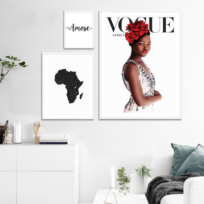 Map of Africa Canvas Vogue Painting Fashion African Black Women Wall Art Print Italian Love Vogue Poster Modern Scandinavian Art Decor