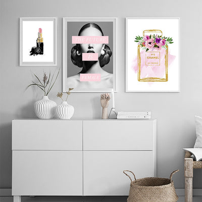 COCO Chanel Perfume Lipstick Fashion Posters and Prints Sexy Woman Print Canvas Paintings Picture Wall art Vogue Picture for Living Room Home Decor