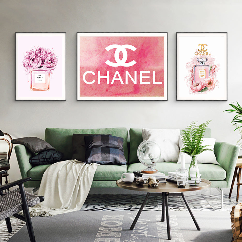 ecc6add917c7 COCO Chanel Perfume Flowers Painting Fashion Quotes Nordic Wall Art Bottles Poster  Prints Vogue Decoration Pictures ...