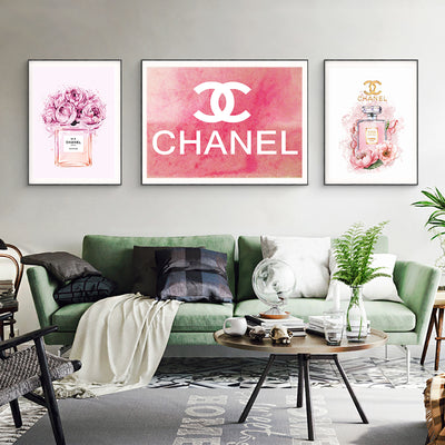 COCO Chanel Perfume Flowers Painting Fashion Quotes Nordic Wall Art Bottles Poster Prints Vogue Decoration Pictures For Living Room Decorative