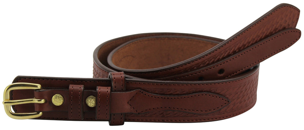 Bullhide Belts Medium Brown Basket Weave Ranger Belt with Small Stitching (SKU 8262-34)