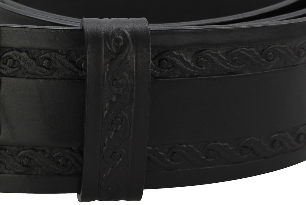 "Black Santa Belt 3.5"" Oak Leaf Embossed Keeper Loop"