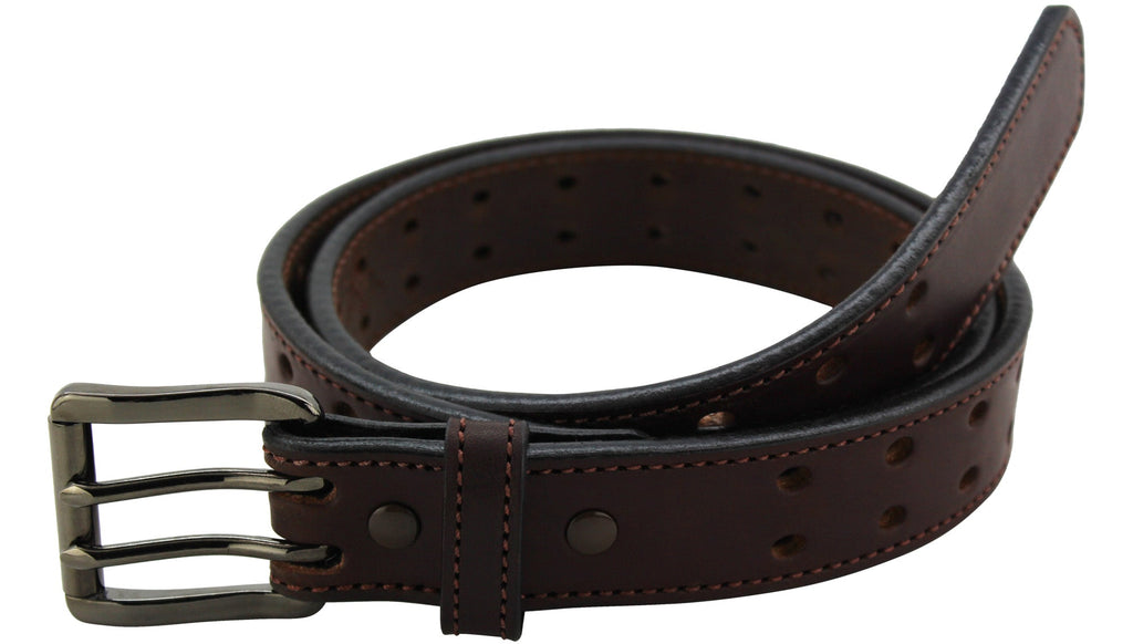 Brown Stitched Max Thickness Double Prong Holey Bull Bullhide Belt (SKU 8960HGM-36)