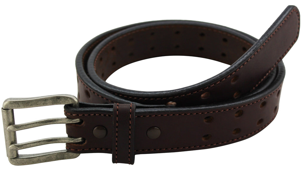 Brown Stitched Max Thickness Double Prong Holey Bull Bullhide Belt (SKU 8960H-36)