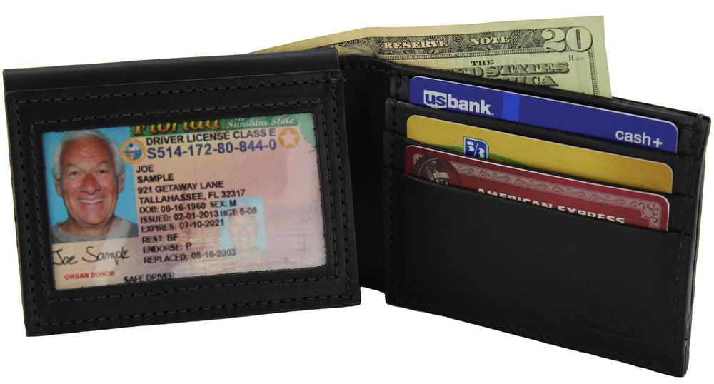 Black Premium Bridle Leather USA Made Deluxe Bifold Wallet With ID Window