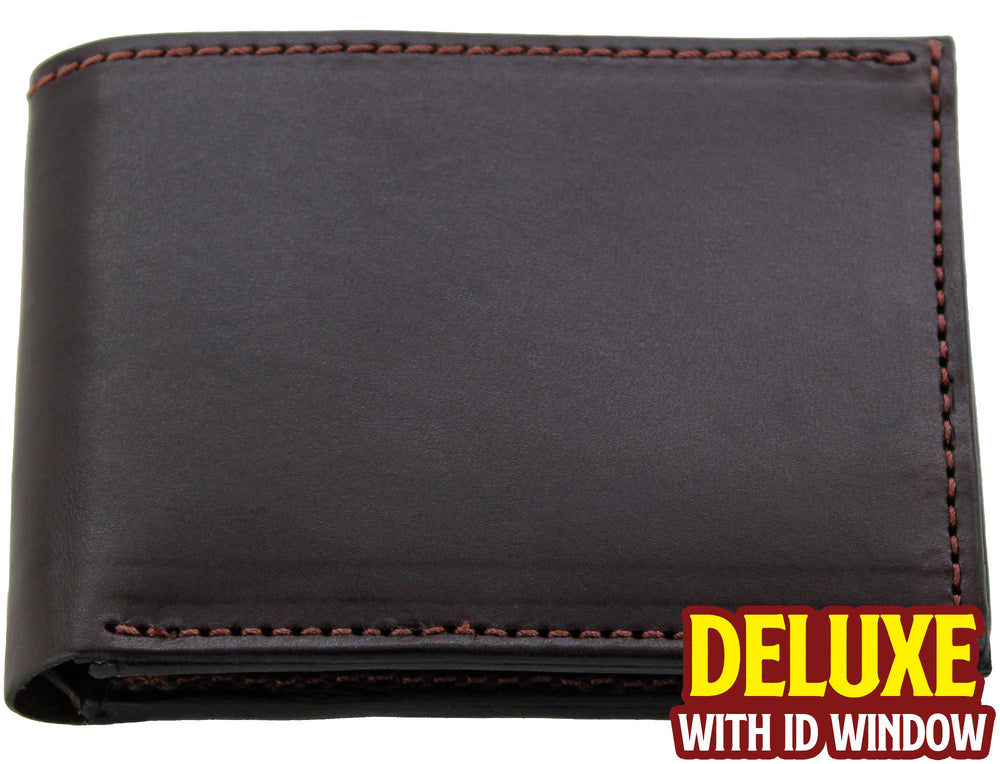 Brown Premium Bridle Leather USA Made Deluxe Bifold Wallet With ID Window