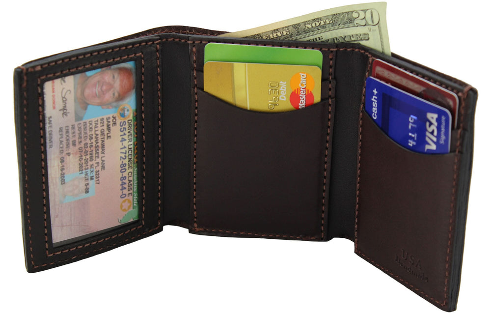 Brown Premium Bridle Leather USA Made Trifold Wallet With ID Window