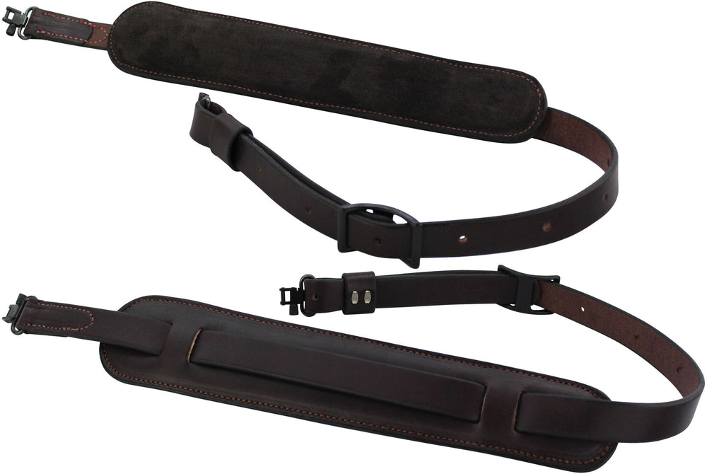 Brown English Bridle Leather Adjustable Padded Two Point Rifle Sling