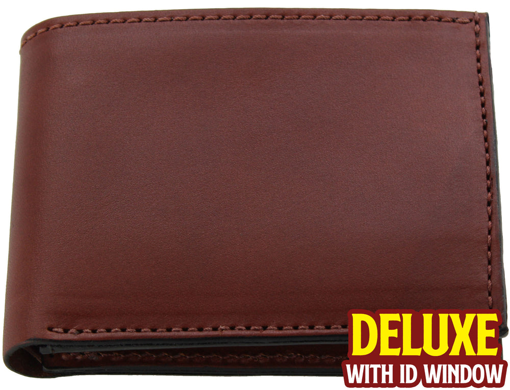 Medium Brown Premium Bridle Leather USA Made Deluxe Bifold Wallet With ID Window