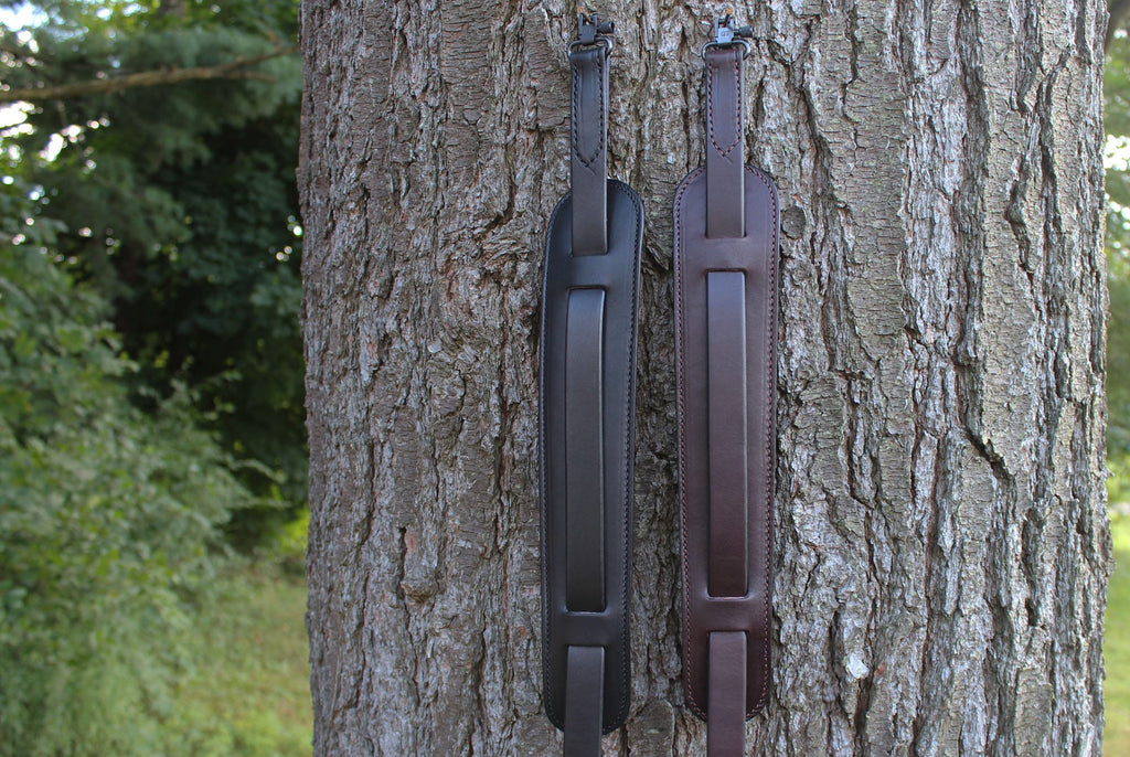 Black English Bridle Leather Adjustable Padded Two Point Rifle Sling
