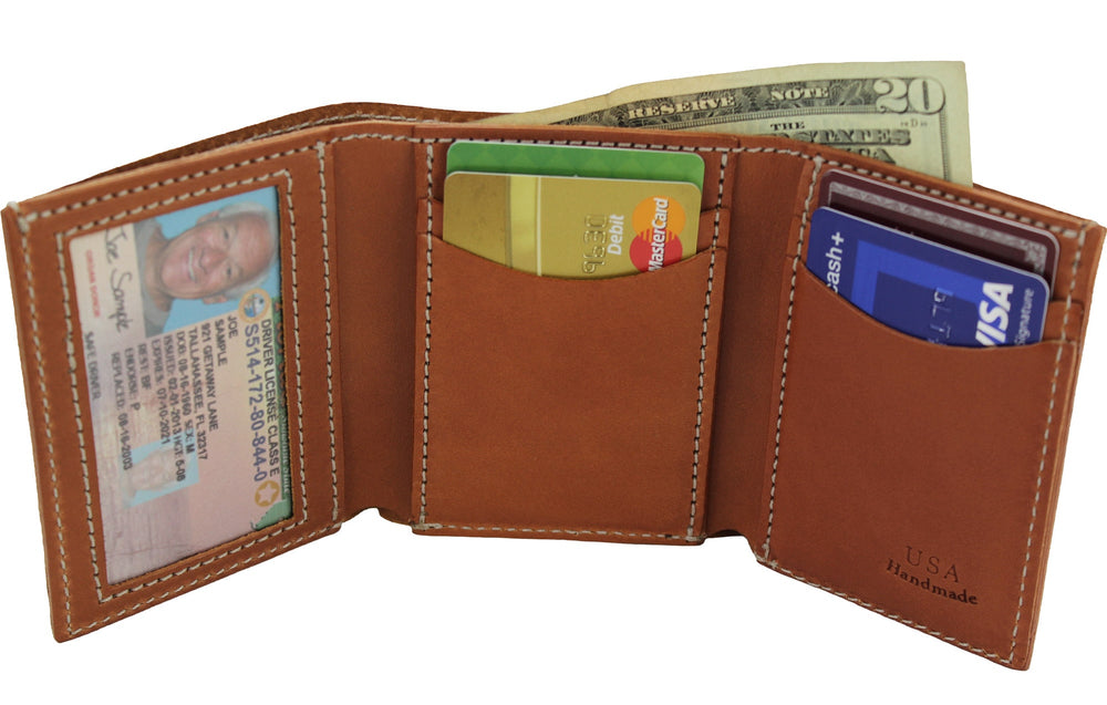 Tan Premium Bridle Leather USA Made Trifold Wallet With ID Window