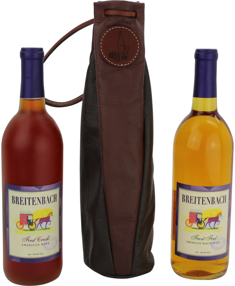 Two Tone Brown Leather Wine Bottle Carrier Gift Bag (Wine & Cheese icon)
