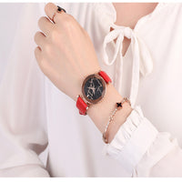 SANDA P231 Women Fashion Star Transparent Dial Leather Band Quartz Watch