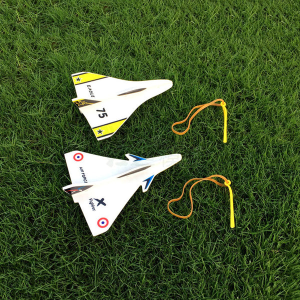 Elastic Rubber Band Powered DIY Delta Wing Foam Plane Kit Aircraft Model Outdoor Toys