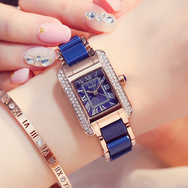 KIMIO KW6036S Luxury Ladies Quartz Watch Fashion Rhinestones Rectangle Dial Women Dress Watch