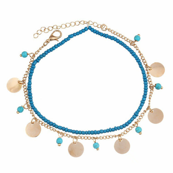 Bohemian Women's Anklet Summer Beach Multilayer Blue Bead Coin Pendant Ankle Bracelets Ring