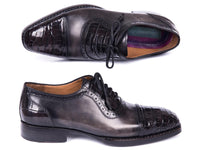 Paul Parkman Black Genuine Crocodile & Gray Calfskin Captoe Oxfords (ID#847-BLK)