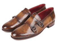 Paul Parkman Men's Double Monkstraps Olive (ID#HR67LV)