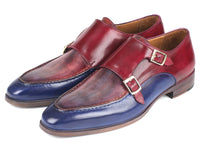 Paul Parkman Blue & Bordeaux Double Monkstraps (ID#SW533YR)